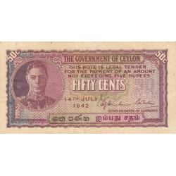 Ceylan - Pick 45a - 50 cents - 14/07/1942 - Etat : TTB