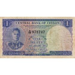 Ceylan - Pick 47 - 1 rupee - 20/01/1951 - Etat : TB