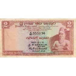 Ceylan - Pick 72a - 2 rupees - 1969 - Etat : TB+