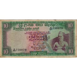 Ceylan - Pick 74b - 10 rupees - 01/02/1971 - Etat : TB