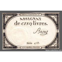 Assignat 46a - 5 livres - Signature 20 - 10 brumaire an 2 - Etat : SUP