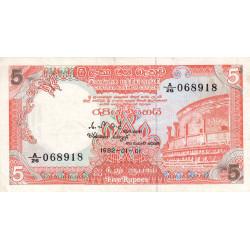 Sri-Lanka - Pick 91 - 5 rupees - 01/01/1982 - Etat : TTB