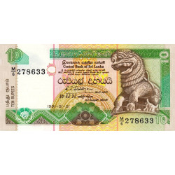 Sri-Lanka - Pick 102a - 10 rupees - 01/01/1991 - Etat : NEUF