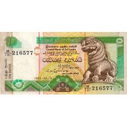 Sri-Lanka - Pick 102c - 10 rupees - 19/08/1994 - Etat : TTB