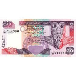 Sri-Lanka - Pick 109b - 20 rupees - 12/12/2001 - Etat : NEUF