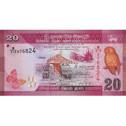Sri-Lanka - Pick 123c - 20 rupees - 04/02/2015 - Etat : NEUF