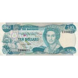 Bahamas - Pick 46b - 10 dollars - Série E- Loi 1974 (1984) - Etat : TB+