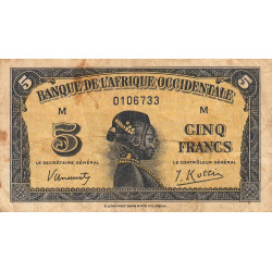 AOF - Pick 28a_1 - 5 francs - 14/12/1942 - Etat : B+