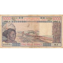Côte d'Ivoire - Pick 108Ai - 5'000 francs - Série M.4 - 1982 - Etat : TB-