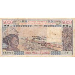 Côte d'Ivoire - Pick 108Ao - 5'000 francs - Série Q.7 - 1986 - Etat : B+