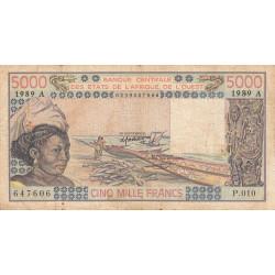 Côte d'Ivoire - Pick 108Ag - 5'000 francs - Série P.010 - 1989 - Etat : B+