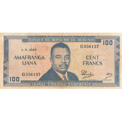 Burundi - Pick 12a_3 - 100 francs - Série G - 01/05/1965 - Etat : TB+ à TTB