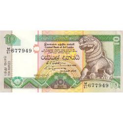 Sri-Lanka - Pick 102b - 10 rupees - 01/07/1992 - Etat : SUP à SPL