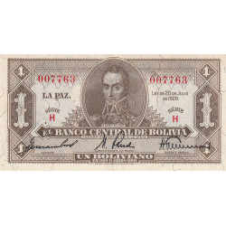 Bolivie - Pick 128a1 - 1 boliviano - Loi 1928 - Etat : SUP