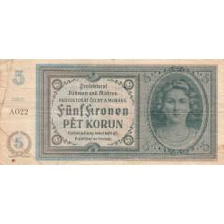 Bohême-Moravie - Pick 4a_1 - 5 korun - 1940 - Série A022 - Etat : TB