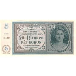 Bohême-Moravie - Pick 4s_3 - 5 korun - 1940 - Série H030 - Spécimen - Etat : pr.NEUF