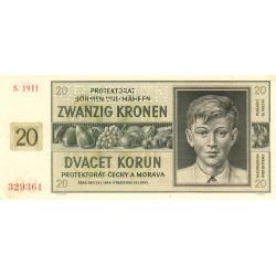 Bohême-Moravie - Pick 9s_2 - 20 korun - 21/01/1944 - Série H - Spécimen - Etat : SPL