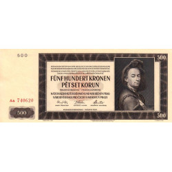Bohême-Moravie - Pick 12a - 500 korun - 24/02/1942 - Série Aa - Etat : SPL+