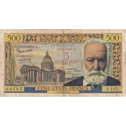 F 52-02 - 12/02/1959 - 5 nouv. francs sur 500 francs - Série F.117 - Victor Hugo - Etat : B+