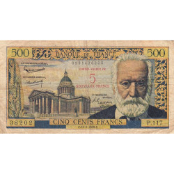 F 52-02 - 12/02/1959 - 5 nouv. francs sur 500 francs - Série P.117 - Victor Hugo - Etat : TB