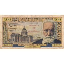 F 52-02 - 12/02/1959 - 5 nouv. francs sur 500 francs - Victor Hugo - Etat : TB