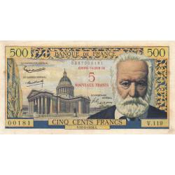 F 52-02 - 12/02/1959 - 5 nouv. francs sur 500 francs - Série V.119 - Victor Hugo - Etat : TTB