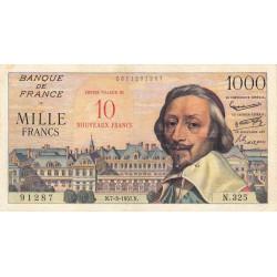 F 53-01 - 07-03/1957 - 10 nouv. francs sur 1000 francs - Série N.325 - Richelieu - Etat : TTB-