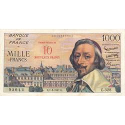 F 53-01 - 07-03/1957 - 10 nouv. francs sur 1000 francs - Série Z.328 - Richelieu - Etat : TB+