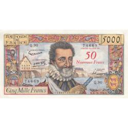 F 54-01 - 30/10/1958 - 50 nouv. francs sur 5000 francs - Série Q.90 - Henri IV - Etat : TTB