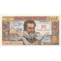 F 54-01 - 30/10/1958 - 50 nouv. francs sur 5000 francs - Henri IV - Etat : TTB