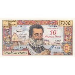 F 54-02 - 05/03/1959 - 50 nouv. francs sur 5000 francs - Série E.98 - Henri IV - Etat : TTB+