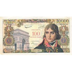 F 55-01 - 30/10/1958 - 100 nouv. francs sur 10000 francs - Bonaparte - Série D.142 - Etat : TB