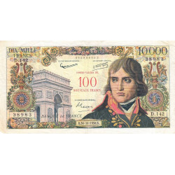 F 55-01 - 30/10/1958 - 100 nouv. francs sur 10000 francs - Série D.142 - Bonaparte - Etat : TB