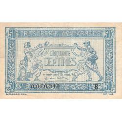 VF 1-2 - 50 centimes - Trésorerie aux armées - 1917 - Etat : TTB+