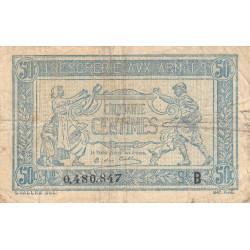 VF 1-2 - 50 centimes - Trésorerie aux armées - 1917 - Etat : TB+