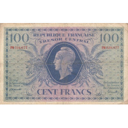 VF 06-01e - 100 francs - Trésor central - 1943 - Etat : TB