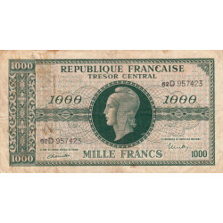 VF 13-01 - 1000 francs - Marianne - 1945 - Etat : TB-