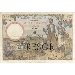 VF 10-01 - 1000 francs - Algérie surchargé - 1942 - Etat : TTB-