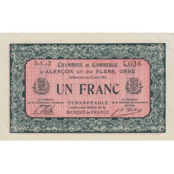 Alençon / Flers (Orne) - Pirot 6-36 - 1 franc - Série 3C2 - 10/08/1915 - Etat : SUP