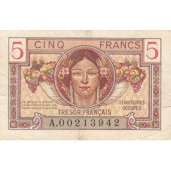 VF 29-01 - 5 francs - Trésor français - Territoires occupés - 1947 - Etat : TTB-