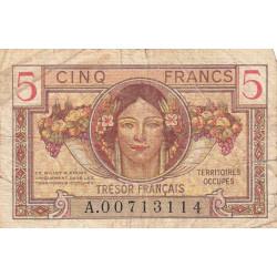 VF 29-01 - 5 francs - Trésor français - Territoires occupés - 1947 - Etat : TB-