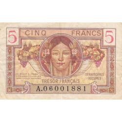 VF 29-01 - 5 francs - Trésor français - Territoires occupés - 1947 - Etat : TB+