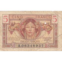 VF 29-01 - 5 francs - Trésor français - Territoires occupés - 1947 - Etat : B+