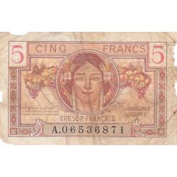 VF 29-01 - 5 francs - Trésor français - Territoires occupés - 1947 - Etat : B-