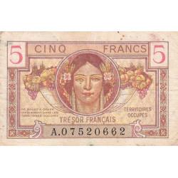VF 29-01 - 5 francs - Trésor français - Territoires occupés - 1947 - Etat : TB