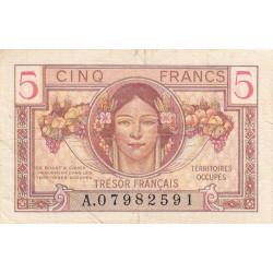 VF 29-01 - 5 francs - Trésor français - Territoires occupés - 1947 - Etat : TTB