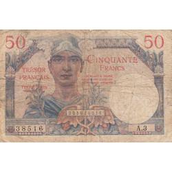 VF 31-01 - 50 francs - Trésor français - 1947 - Etat : B+
