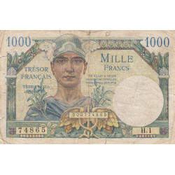 VF 33-01 - 1'000 francs - Trésor français - 1947 - Etat : TB-