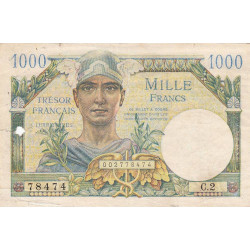 VF 33-01 - 1'000 francs - Trésor français - Territoires occupés - 1947 - Etat : TB-