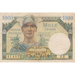 VF 33-1 - 1'000 francs - Trésor français - 1947 - Etat : TB